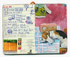 """Radio sketchbook"" by Stephanie Birdsong, shoulda-woulda-coulda Moleskine, Cute Journals, Visual Journals, Artist Sketchbook, Sketchbook Project, Photo Album Scrapbooking, Sketchbook Inspiration, Altered Books, Art Inspo"