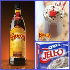 Kahlua Cookies And Cream Pudding Shots  1 small Pkg. cookies 'n creme instant pudding ¾ Cup Milk 3/4 Cup Kahlúa 8oz tub Cool Whip  Directions 1. Whisk together the milk, liquor, and instant pudding mix in a bowl until combined. 2. Add cool whip a little at a time with whisk. 3.Spoon the pudding mixture into shot glasses, disposable shot cups or 1 or 2 ounce cups with lids. Place in freezer for at least 2 hours