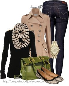 Black sweater w/ gold shoulder buttons, camel military jacket. Class minus the green bag and flats,  add sexy black pumps