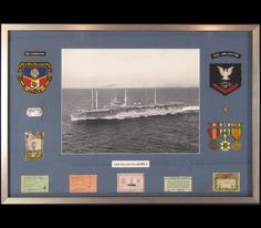 United States Navy memorabilia in shadowbox.