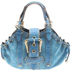 Pre-Owned Louis Vuitton Theda GM Limited Edition Turquoise Suede &... (€1.715) ❤ liked on Polyvore featuring bags, handbags, gold, satchel handbags, satchel purses, turquoise handbags, louis vuitton and blue suede handbag