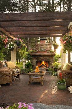 Outdoor Fireplace and Pergola . Outdoor Fireplace and Pergola . Small Backyard Patio, Backyard Patio Designs, Pergola Designs, Backyard Landscaping, Patio Ideas, Backyard Ideas, Landscaping Ideas, Firepit Ideas, Porch Ideas