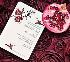 I got these, they are lovely!  Pomegranate Wedding Invitations - hand painted and embellished with glitter #FeltNoir #Garnet #JanuaryBirthstone