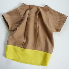 front pleat linen top by le bouton