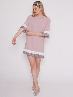 Dahlia Sable Pink Dress with Grey and White Pleated Skirt and Sleeve Details