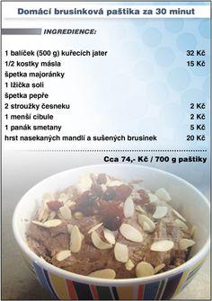 Levně a chutně - recept na Domácí brusinkovou paštiku Ham, Oatmeal, The Cure, Beans, Food And Drink, Appetizers, Low Carb, Cooking Recipes, Sweets