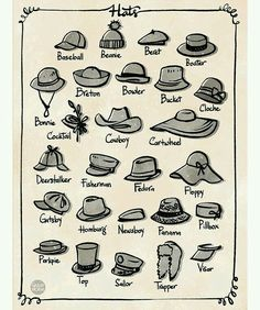 Any day is a good day for a hat day! In animation, hats is a great accessories t… Any day is a good day for a hat day! In animation, hats is a great accessories to add for crowd variation. We usually pick a few shape then… Fashion Terminology, Fashion Terms, Fashion Hacks, Fashion Ideas, Fashion Design Drawings, Fashion Sketches, Drawing Fashion, Fashion Infographic, Fashion Dictionary