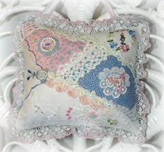 Blue and Pink Lace Crazy Quilt Door Pillow