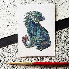 "250 Likes, 10 Comments - Emma Lazauski (@emmalazauski) on Instagram: ""A dracogryph! . . . #Smaugust #dragon #pittsburghartist #monster #fantasyart #ACEO #watercolor…"""
