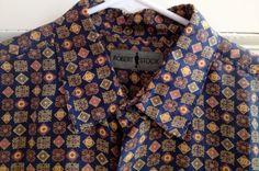Robert Stock Shirt Mens Size Medium Silk M Short Sleeve