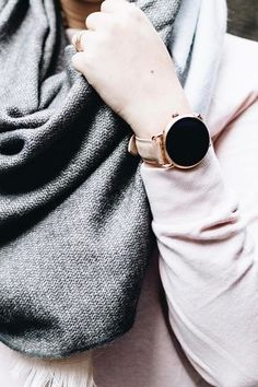 An accessory that completes any outfit, the rose gold Q Wander display smartwatch. via @ publyssity