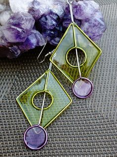 Stainless Steel Dangle Earrings In Lime and Purple - Handmade Jewelry.