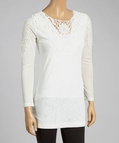 Look what I found on #zulily! Pretty Angel Cream Crochet Linen-Blend Top by Pretty Angel #zulilyfinds