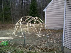 Geodesic Dome Greenhouse built with beams and pipe hubs. Geodesic Dome Greenhouse, Diy Greenhouse, Concrete Blocks, Wood Screws, Beams, Construction, Backyard, Building, Modern