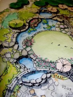 Water Feature, Landscape Architecture Drawing, Architecture Rendering, Landscape Design Plans, Landscape Drawing Architecture, Landscape Sketch