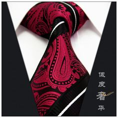 Paisley Stripes Black Red White Mens Necktie Ties 100% Silk Jacquard Woven(China (Mainland))