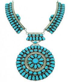 Silver Jewelry Native American Navajo Turquoise Link Necklace GS77168