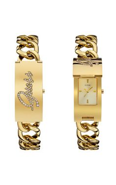 Guess Steel Watch Only Gold Tone Id Bracelet With Self Adjule Made Of Stainless For Durability Not Alloy