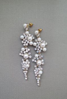 Bridal Chandelier Earrings, Long #Wedding Earrings #jewelry $78.00
