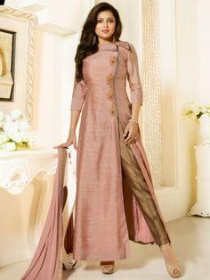 Nitya Peach Pink & Brown Designer Semi Stitched Suit