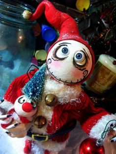 Finished Santa Clause Grimmy doll by SpookyHollow on Etsy, $75.00