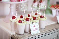 strawberry birthday: strawberry milkshakes with pastel green pearl sprinkle rim {TomKat Studio}