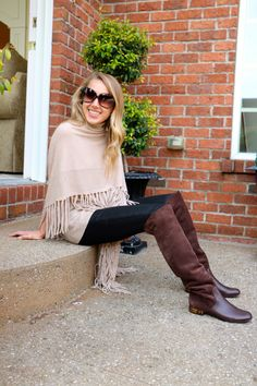 Fringe Layers! Transitional seasons are all about layers. See how I am styling these fringe layers from Gorsuch with gucci over-the-knee boots and joes wax jeans!