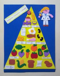 Nutrition for a better life Nutrition Activities, Kids Nutrition, Nutrition Month, Quest Nutrition, Senses Preschool, Preschool Activities, Food Pyramid Kids, Food Crafts, Paper Crafts