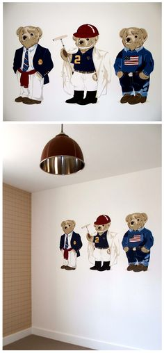 Ralph Lauren teddy bears hand painted mural for a toddlers bedroom by Carren Lu at www.artistic-touch.co.uk