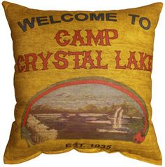 Camp Crystal Lake Printed Pillow $14.00 horrordecor.net