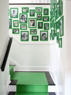 Stairway Decorating Ideas... I LOVE this picture frame idea... would want to use a few larger frames/pictures to give it some more interest... ALSO would want to use either a teal or blue-gray color on the frames.