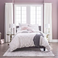 Love the purple and white bedroom and this Liz Claiborne comforter really ties it all together! #bedding #ad