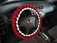 Crochet Steering Wheel Cover, Wheel Cozy - cherry red/black/soft white (CSWC17M-6VC17) by ytang on Etsy