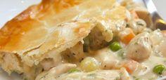 Close-up of serving of chicken pot pie