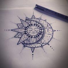 Sun & Moon Henna Tattoo Style
