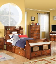 Acme 11010T Brandon Antique Oak Bookcase Storage Twin Bed with Trundle