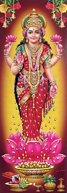 Lakshmi Devi, the Goddess who embodies the wealth, bounty, and generosity of the Earth. Shri Ganesh, Lord Ganesha, Lord Shiva, Durga, Hanuman, Indian Goddess, Goddess Lakshmi, Gayatri Devi, Krishna Leela