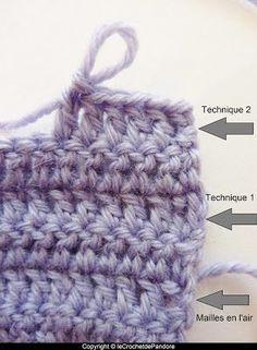 le Crochet de Pandore: Tuto : remplacer les mailles en l'air pour tourner en début de rang : la maille allongée (technique 2)