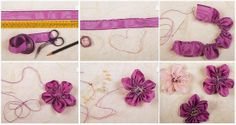 No cut ribbon flower Diy Ribbon Flowers, Ribbon Flower Tutorial, Organza Flowers, Burlap Flowers, Ribbon Art, Fabric Ribbon, Fabric Flowers, Silk Ribbon Embroidery, Hand Embroidery