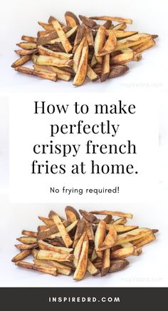 How to make french fries at home that are actually crispy! Crispy Oven Fries, Crispy French Fries, Fries In The Oven, French Fries At Home, Making French Fries, Yummy Recipes, Vegan Recipes, Yummy Food, Healthy Fries