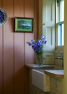 Farrow & Ball.....Water-based eggshell in Entrance Hall Pink (61) and Off-White (3)