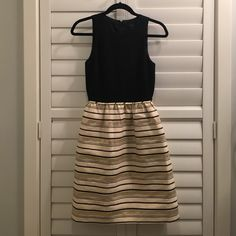 Black and Gold Striped Jcrew Dress Cute party dress. Black top with black and gold stripes skirt. BNWT. Size 0. J. Crew Dresses