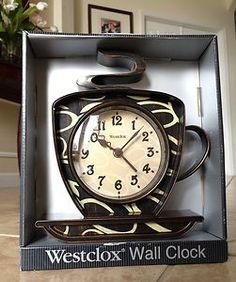 Coffee cup theme kitchen wall clock kitchen stuff pinterest kitchen wall clocks coffee - Coffee themed wall clocks ...