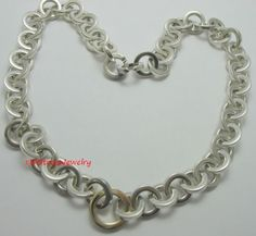 2001 Tiffany & Co Sterling Silver 925 & 750/18K Gold Circles Necklace