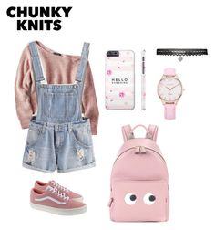 """""""Pinky knits"""" by shasaiskananda ❤ liked on Polyvore featuring American Eagle Outfitters, Vans, Anya Hindmarch and Betsey Johnson"""