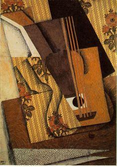 Juan Gris  The Guitar 1914 Papier colle, gouache, fusain, and pencil on canvas 65 x 46 cm Private collection