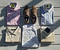 Lniane spodnie, koszula w kratę, obowiązkowy krawat z delikatnym wzorem i wygodne buty!