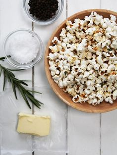 "We are obsessed with popcorn. I am going to try a coconut oil (or olive oil) + rosemary one similar to this. I'd assume you'd have to use ""processed"" coconut oil though."