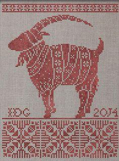 Julbocken - The Yule Goat Folk Embroidery, Cross Stitch Embroidery, Cross Stitch Patterns, Knitting Charts, Loom Knitting, Knitting Patterns, Yule Goat, Vintage Cross Stitches, Ancient Symbols