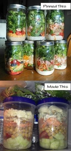 I used glad plastic containers instead of glass jars. Plus I added LOTS more other ingredients (cucumber, tomato, carrot, chick peas, mushrooms, feta cheese) then put the dressing in a snack bag. With all of that I had to put my lettuce in a sandwich bag. This makes a HUGE salad. Probably could eat on it more than one meal actually. I'll only make a few days ahead instead of all week.